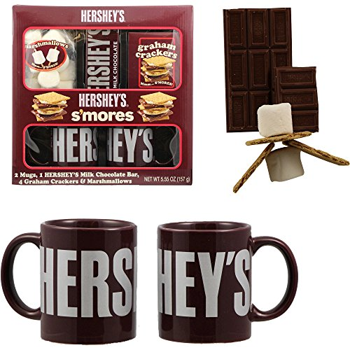 Hershey's Smores Holiday Gift Set with Two Ceramic Mugs, Hersheys Bar and Marshmallows Hershey Marshmallow