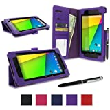 rooCASE Google Nexus 7 FHD 2nd Gen Tablet Dual-Station Folio Case Cover - Purple