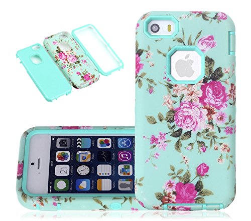 5c Case, iphone 5c Case, CexCob Vintage Floral Flowers [Shockproof] 3 in 1 Hybrid Silicone TPU & Plastic Rugged Heavy Duty Bumper Combo High Impact Durable Phone Case for Apple iphone 5c, Mint