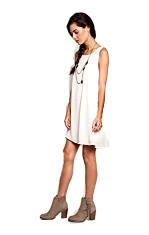 Sleeveless A-Line Dress, Cream