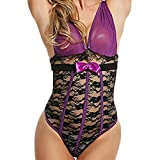 Womens Sexy Lingerie Liraly Bodysuit Deep-V Collar One Piece Lace Babydoll Jumpsuit (2XL, Purple)