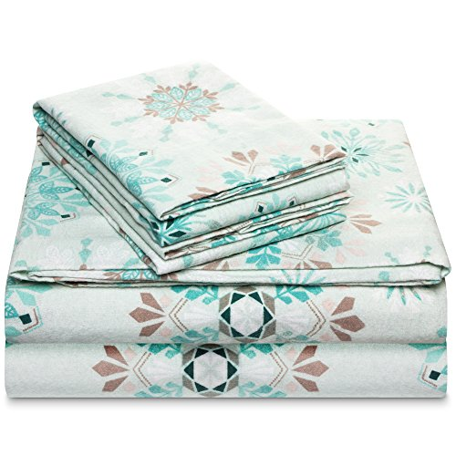 100% Cotton Flannel Sheet Set - Extra Soft Heavyweight - Double Brushed Flannel - Deep Pocket Snow Flakes - Heavyweight Flannel