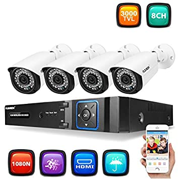 FLOUREON Kit de Cámara de Seguridad 8CH 1080N 3000TVL CCTV 5-IN-1 DVR, IR-Cut, Detección de Movimiento, P2P, 7908: Amazon.es: Electrónica