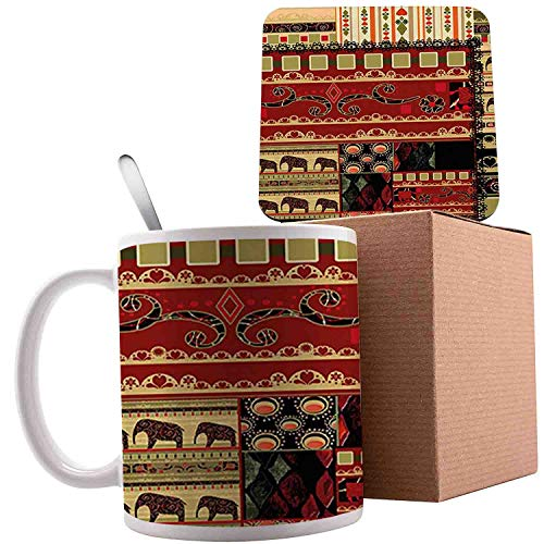 Patchwork Asian with Elephants and Cultural Ancient Motifs, Red Green Black;Ceramic mug with Spoon & Coaster Creative Morning Milk Coffee Tea Porcelain 11oz gifts for family