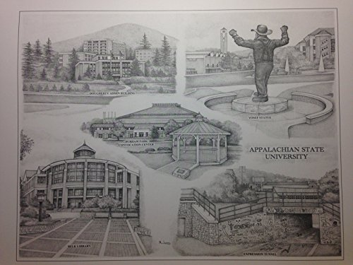 Appalachian State 12''x16'' pen and ink collage print by Campus Scenes
