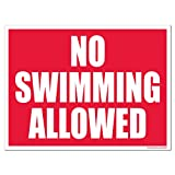 VictoryStore Yard Sign Outdoor Lawn Decorations: Red No Swimming Allowed Plastic Sign, Size 18 inch x 24 inch