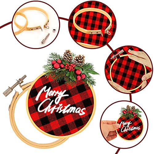 BigOtters 10PCS Christmas Embroidery Hoops, 3 Inch Bamboo Circle Cross Stitch Hoop Ring for Christmas Ornaments Art Craft Handy Sewing DIY Favor