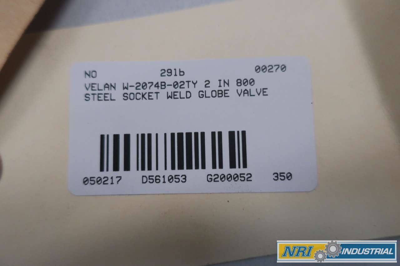 VELAN W-2074B-02TY 2 in 800 Steel Socket Weld Globe Valve D561053