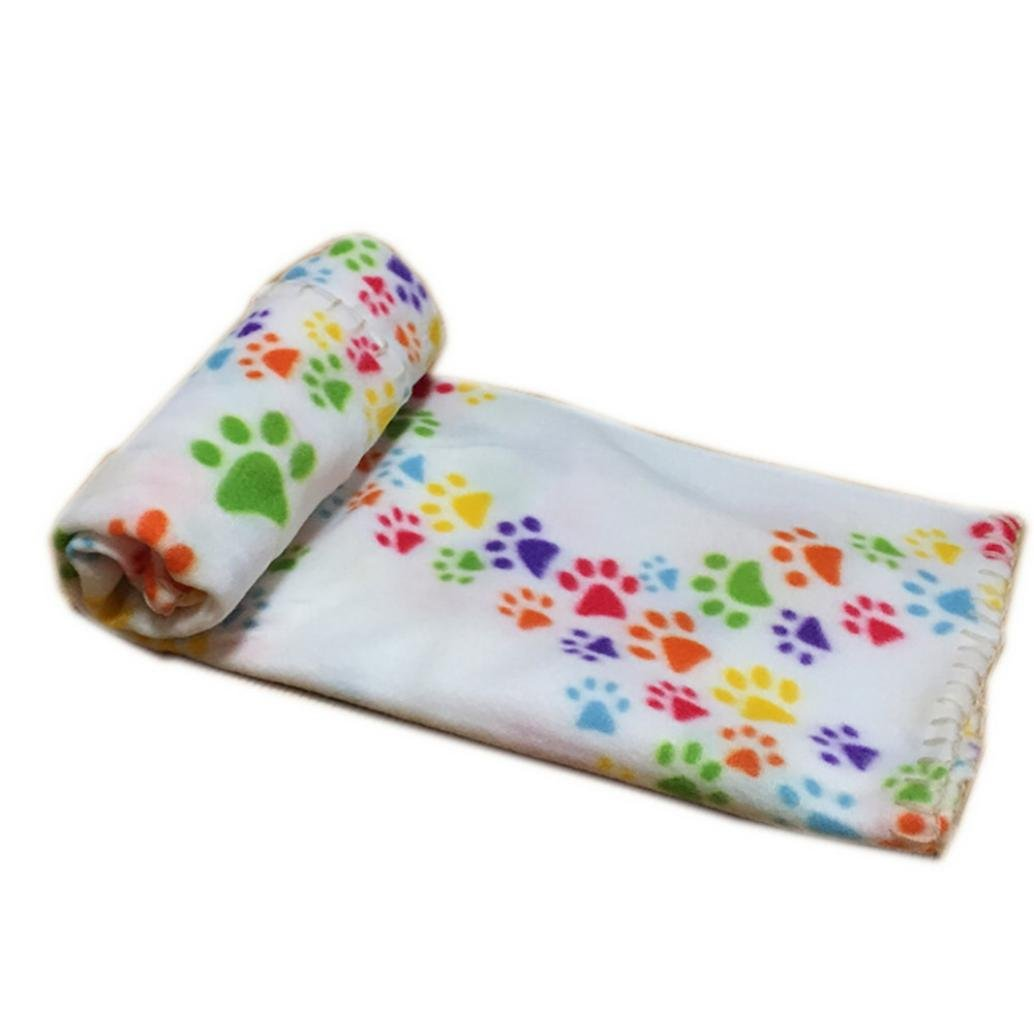 Pet Blanket Smdoxi Puppy Blanket Warm Dog Cat Fleece Blankets Pet Sleep Mat Pad Bed Cover with Paw Print Soft Blanket for Kitties Puppies and Other Small Animals (Multicolor)