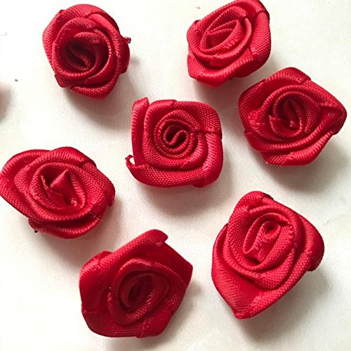 18mm Small Red Rose Flower Small Satin Ribbon Rose Flower Red Rose Flower Handmade Rose/50 pieces - 18 Red Mini Roses