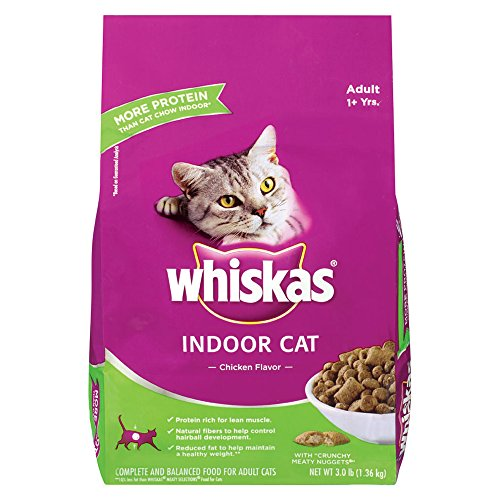 WHISKAS Indoor Dry Food for Cats, Chicken Flavor- 3lb Bag (Pack of 4) by Whiskas