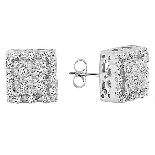 Dazzlingrock Collection 0.15 Carat (ctw) Round White Diamond Ladies Square Shape Stud Earrings, Sterling Silver ()