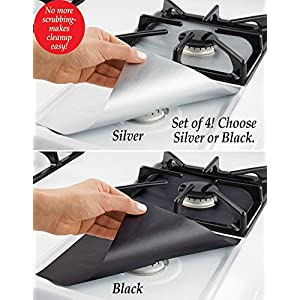 Collections ETC Set of 4 Fiberglass Stovetop Burner Protectors, 10.5-Inch, Black