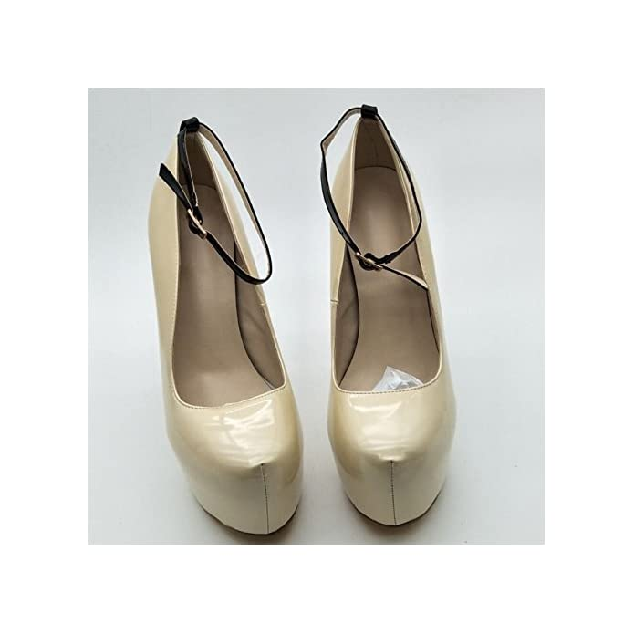 Vivioo Prom Sandals Shoes novelty Fashion beige Leather 4 5 Cm Waterproof 14 5 High Heels round Toe Pumps Size 34-45 beige 6 5