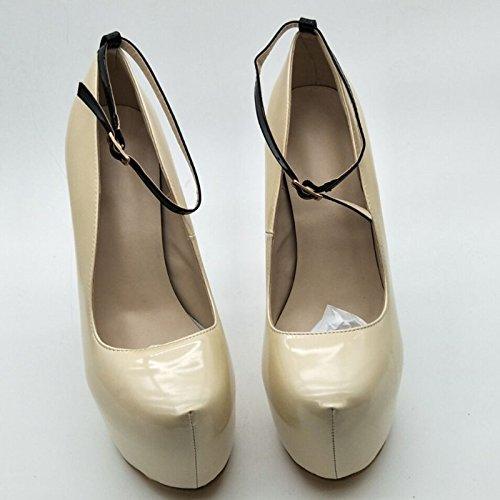 VIVIOO Prom cm Sandals schuhe,Novelty Fashion,Beige Leather,4.5 cm Prom Waterproof,14.5 cm High Heels,Round Toe Pumps. Größe 34-45,Beige,6 d18357