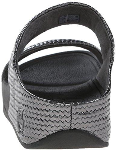 Fitflop Lulu de las mujeres weave Slide Sandal Pewter