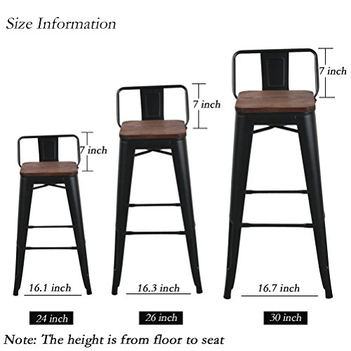 Changjie Furniture Low Back Metal Bar Stool for Indoor-Outdoor Kitchen Counter Bar Stools Set of 4 (26 inch, Low Back Black with Wooden Top)