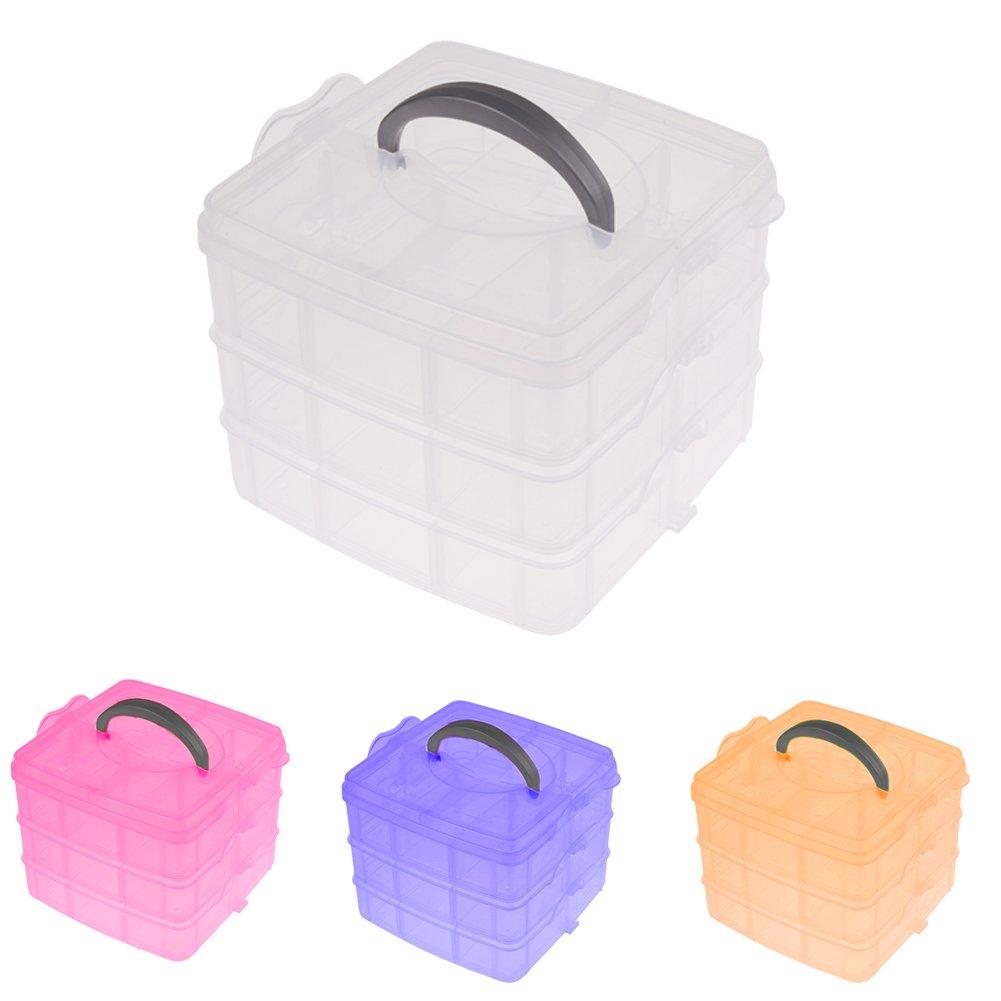 マルチユーティリティプラスチック3層ボックスケースネイルアートクラフトメイクアップ仕上げツール B07838YMCS
