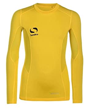 fb33356b Sondico Boys Optivent Thermal Baselayer Top Long Sleeved Football Skins  (yellow, MB (age