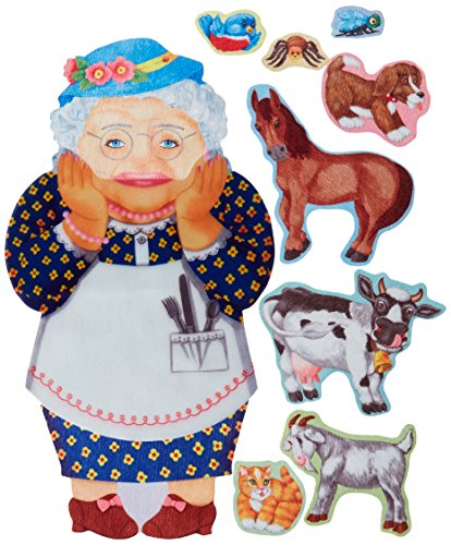 Little Folk Visuals Old Lady Who Swallowed a Fly Precut Flannel/Felt Board Figures, 9 Pieces Set