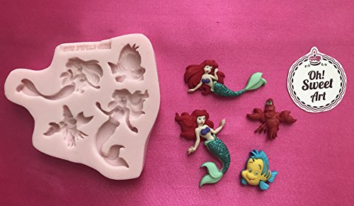 THE LITTLE MERMAID , ARIEL Disney Silicone Mold Cupcake Toppers Mold By Oh! Sweet Art FDA Approved for Food (Disney Cakes And Sweets)