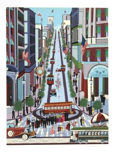 (Nicky Watanabe - Powell Street Cable Car Hand Pulled Serigraph)