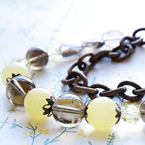 Jade Smoky Quartz Necklace Yellow Brown Gemstone Swarovski Crystal Beaded Bronze Brass Chain (Quartz Smoky Necklace Swarovski)