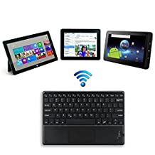 Betterhill Ultra-thin 4mm Wireless Bluetooth Keyboard with Built-In Multi-Touch Touchpad and Rechargeable Battery, Black