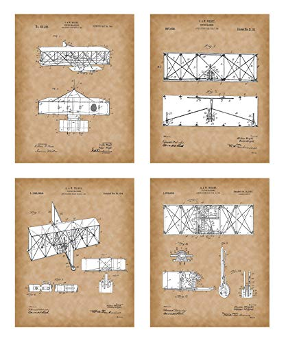 ers - Wright Brothers Patent Prints Old Antique Parchment Look - Flying Machine Invention - Aviation Artwork – Set of 4 (8x10) Pictures – Vintage Wall Art Décor ()