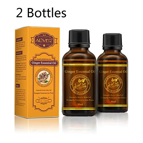 2 Bottles Essential Ginger Oil Massage Scrubbing Oil Promote Blood Circulation, Relieve Muscle Soreness, Lymphatic Drainage 30ml (Best Oil For Blood Circulation)