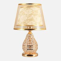 ALUA- European Crystal Table Lamp Bedroom Bedside Lamp Living Room Luxury Table Lamp Double Button Switch E27+Lamp Beads…
