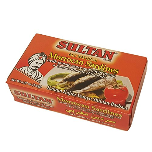 Sultan Moroccan Sardine With Tomato Suace and Hot Peppers 4.37 oz, (Pack of 3) (Sultan Sardines)