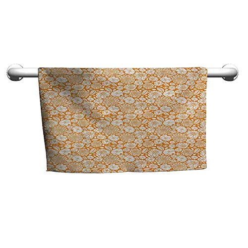 Abeocg Floral Swimming Towel Spring Summer House Garden Field Outdoors with Floral Detailed Leaves Image Sports Towel Marigold and White W10 xL39
