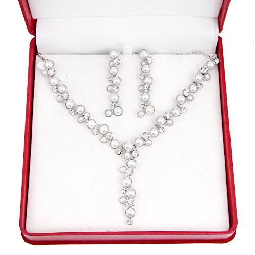 Collier et Boucles d'oreilles imitation perle de mariage classique femme bijoux