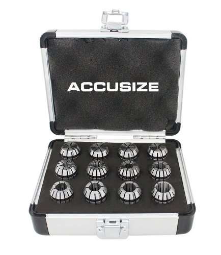 AccusizeTools - 12 Pcs ER-20 Collet Sets Holding End Mills, Size from 1/16'' to 1/2'' in Fitted Strong Alu Box, 0223-0799