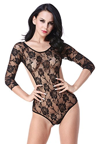 Halter Fishnet Teddy (Lady Lace Floral See-through Backless Teddy Long Sleeve Sleepwear)