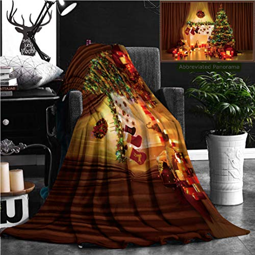 Nalagoo Unique Custom Flannel Blankets Christmas Tree In Room Xmas Home Night Interior Fireplace Lights Decoration Hanging Socks Super Soft Blanketry for Bed Couch, Throw Blanket 70'' x 50'' by Nalagoo