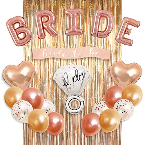 Bachelorette Party Decorations Bridal Shower kit - BRIDE Foil Balloon, Ring Foil Balloon, 2 Heart Foil Balloons, 12 Latex Balloons, Metallic Foil Fringe Curtains, Party Supplies by MM Design