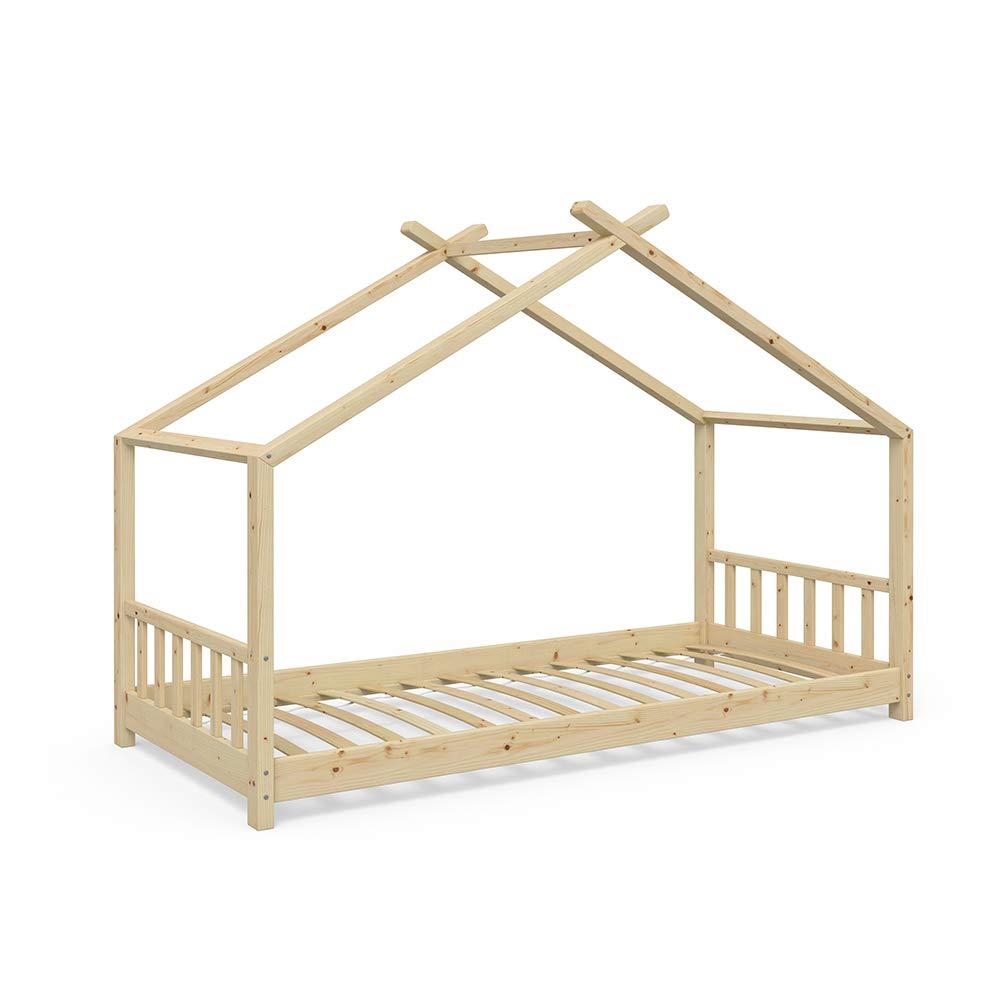 Vicco Kinderbett Hausbett Design 90x200cm 90x200cm 90x200cm Natur Kinder Bett Holz Haus Schlafen Hausbett Spielbett Inkl. Lattenrost 937437