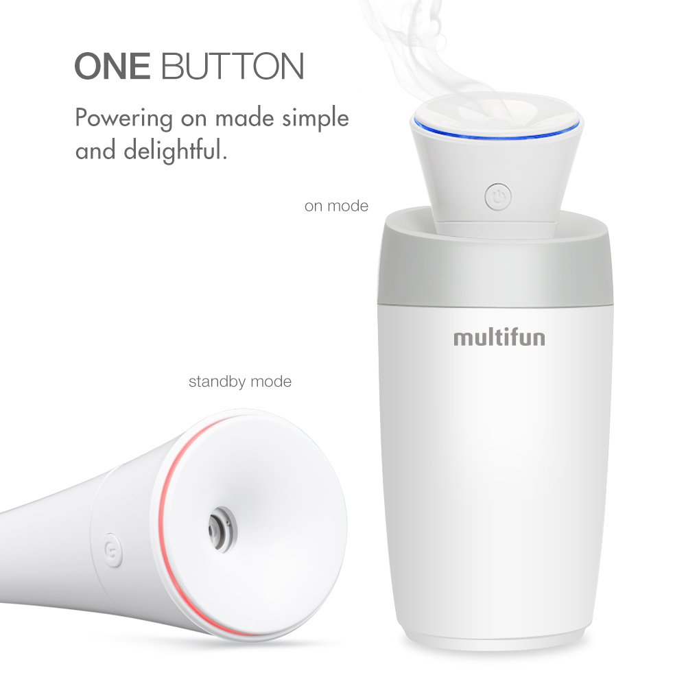 USB Humidifier, multifun Portable Mini Humidifier, Car Humidifier with Auto Shut-off, Multi Use for Travel Office Desk Desktop Car Small Baby Bedroom with Water Bottle by multifun (Image #1)