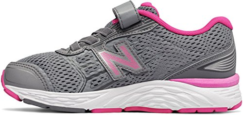 New Balance Girls' 680V5 Hook and Loop Running Shoe, Steel/Pink Glo, 5 W US Toddler