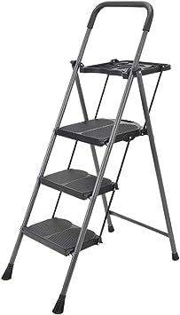 Escaleras plegables Escalera escalonada banqueta de almacenamiento escalera tres o cuatro peldaños casa escalera plegable espiga ancho pedal ingeniería escalera taburete engrosamiento carga 150 kg Sil: Amazon.es: Bricolaje y herramientas