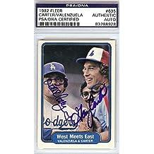 Gary Carter & Fernando Valenzuela Autographed Signed 1982 Fleer Card - PSA/DNA Certified - Baseball Slabbed Autographed Cards