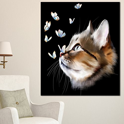 Cat with Butterflies on Modern Animal Glossy Metal Wall Art,