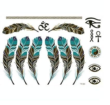 ruofengpuzi Collar De Plumas De Oro 4Pcs Pluma Tatuaje Temporal ...