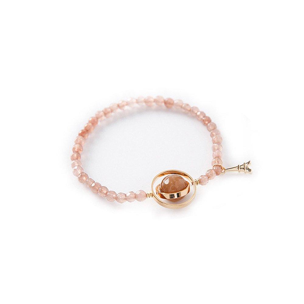 DaoAG-Accessories Gemstone Charm Bracelets for Women Natural Stone Beads Bracelets Jewelry Strenchy Chain Bracelet Vintage Bangle Bracelets for Women & Girls (Pink)