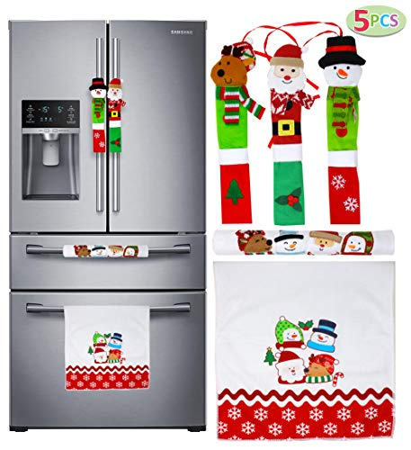 JOYIN 5 Pieces Christmas Kitchen Appliance Handle Covers for Kitchen Refrigerator Microwave Oven Dishwasher Decoration, Xmas Indoor Décor, Party Favor Supplies. ()
