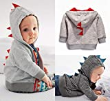 LCY Funny Fashion Baby Boys Cute Dinosaur Hooded Long Sleeve Tops Jacket Coat Sweatshirt Dark Gray 0-6m