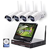 [8CH Expandable]All in one with 10.1″ Monitor Wireless Security Camera System, Cromorc Home Business CCTV Surveillance 8CH 1080P NVR Kit, 4pcs 2MP 1080P Outdoor Night Vision IP Camera, 1TB Hard Drive