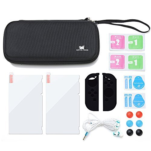 Data Frog 12 in 1 Starter Kit for Nintendo Switch Carrying Case +Earphone+2pcs Switch Screen Protector+Rubber Joy-Con Grips+Thumb Grips Caps for Nintendo Switch Accessories
